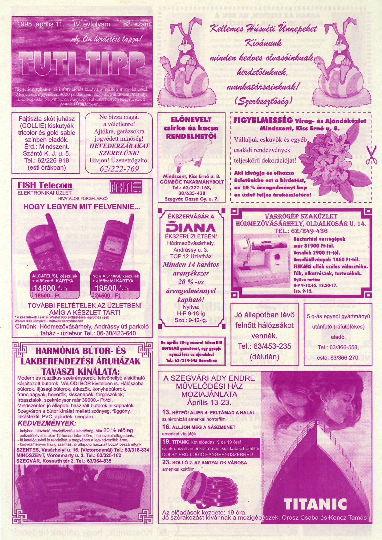 011 Tuti Tipp reklámújság - 19980411-083. lapszám - 1.oldal - IV. évfolyam.jpg