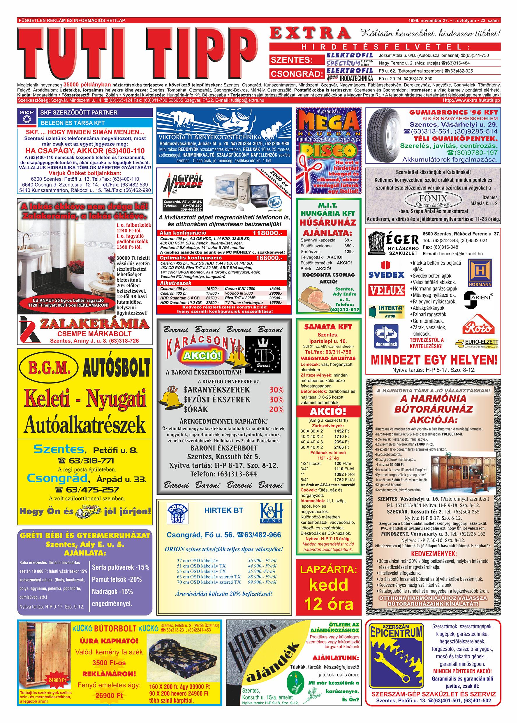 073 Tuti Tipp Extra reklámújság - 19991127-023. lapszám - 1.oldal - V. évfolyam.jpg
