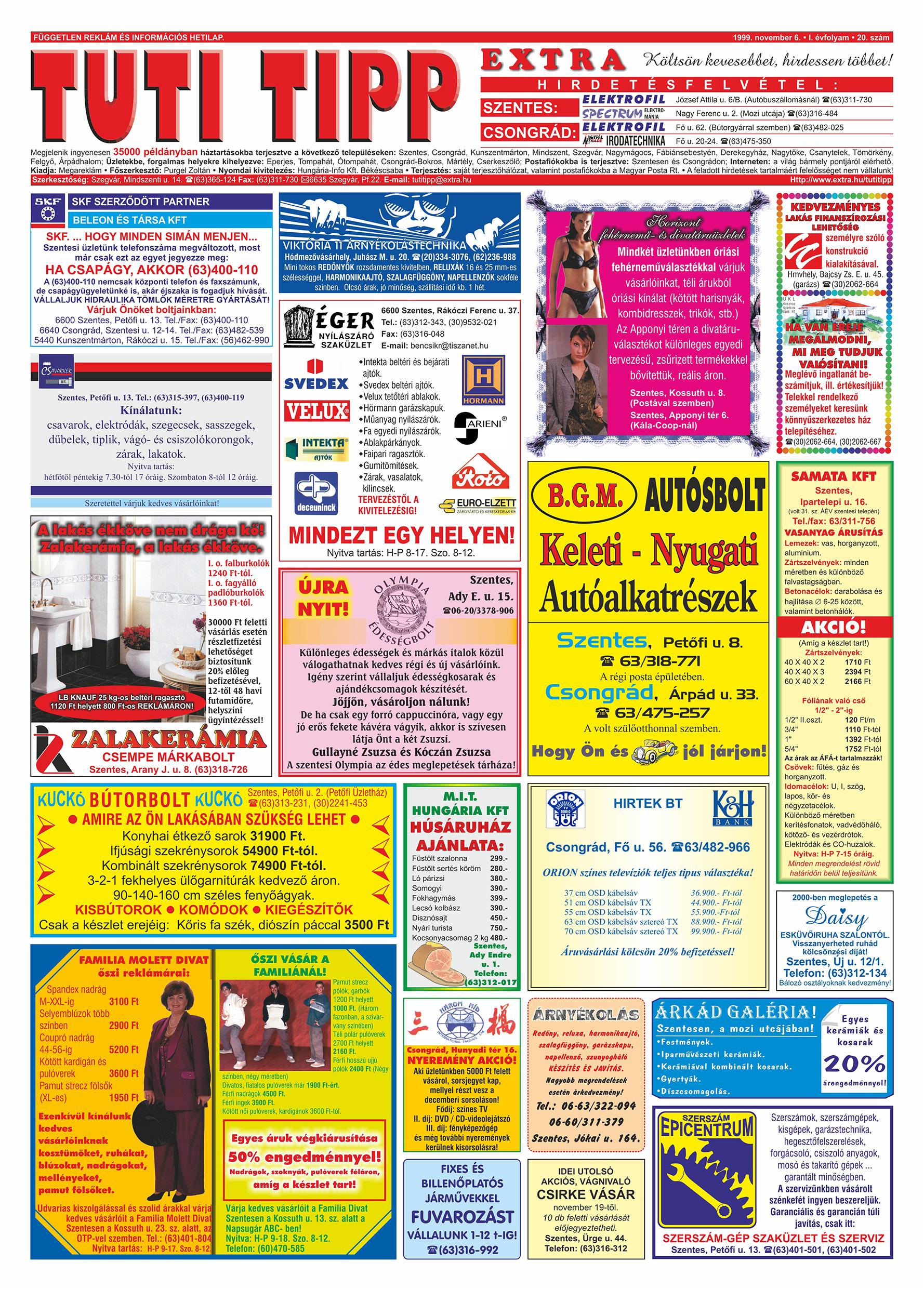 065 Tuti Tipp Extra reklámújság - 19991106-020. lapszám - 1.oldal - V. évfolyam.jpg