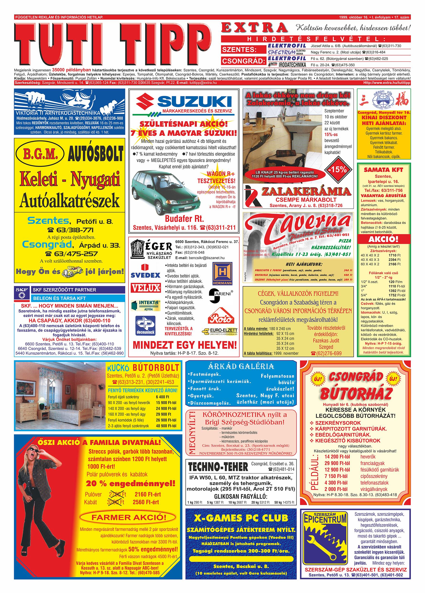 059 Tuti Tipp Extra reklámújság - 19991016-017. lapszám - 1.oldal - V. évfolyam.jpg