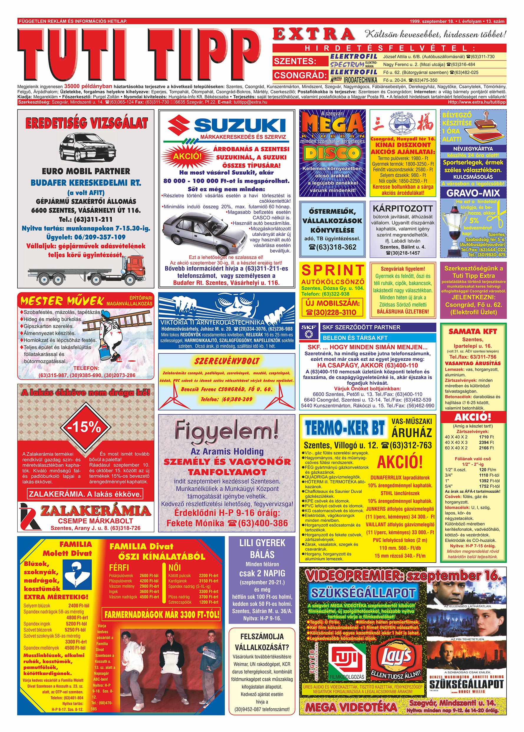 051 Tuti Tipp Extra reklámújság - 19990918-013. lapszám - 1.oldal - V. évfolyam.jpg