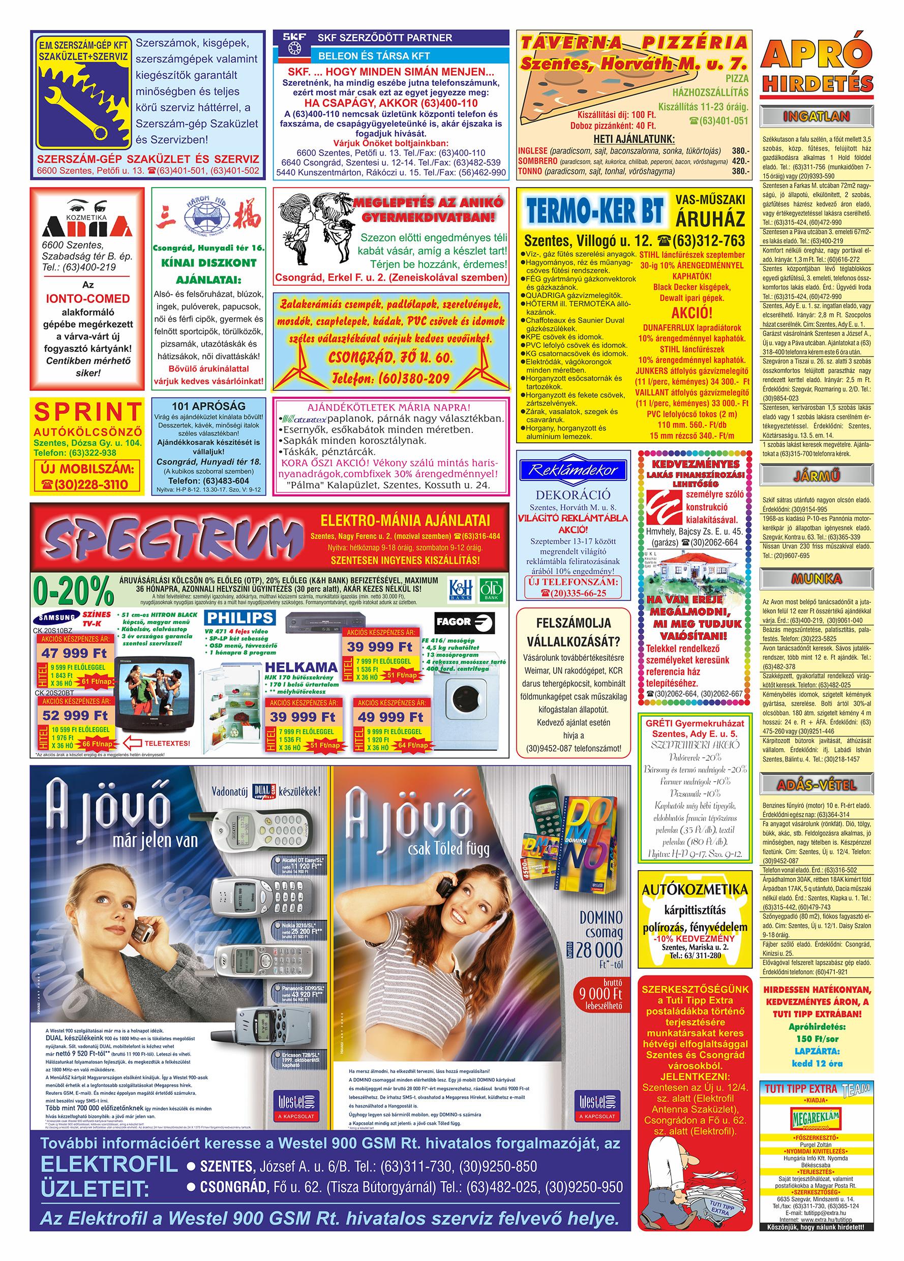 050 Tuti Tipp Extra reklámújság - 19990911-012. lapszám - 2.oldal - V. évfolyam.jpg
