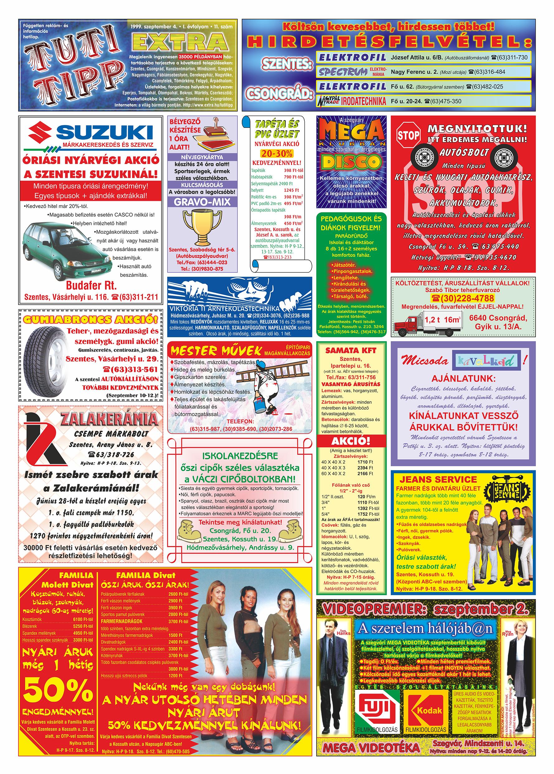 047 Tuti Tipp Extra reklámújság - 19990904-011. lapszám - 1.oldal - V. évfolyam.jpg