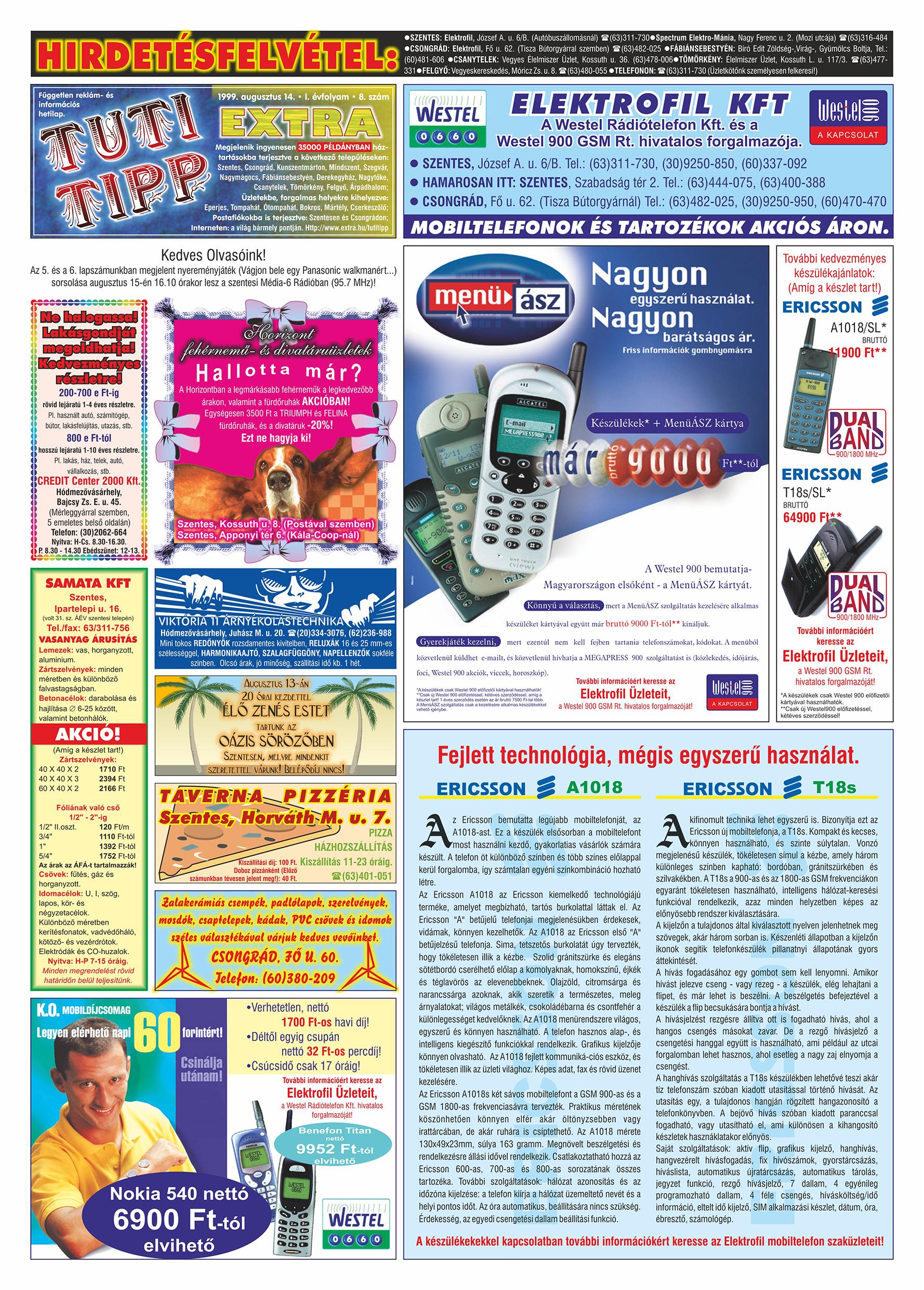 041 Tuti Tipp Extra reklámújság - 19990814-008. lapszám - 1.oldal - V. évfolyam.jpg