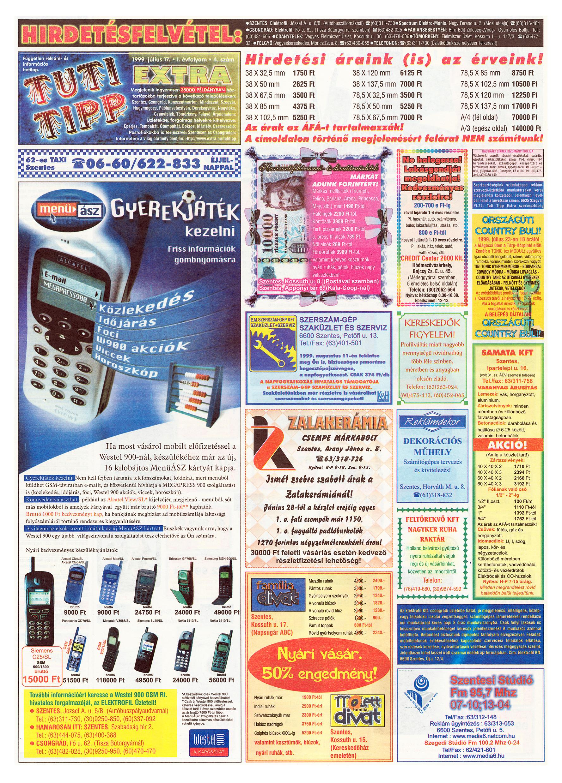 033 Tuti Tipp Extra reklámújság - 19990717-004. lapszám - 1.oldal - V. évfolyam.jpg