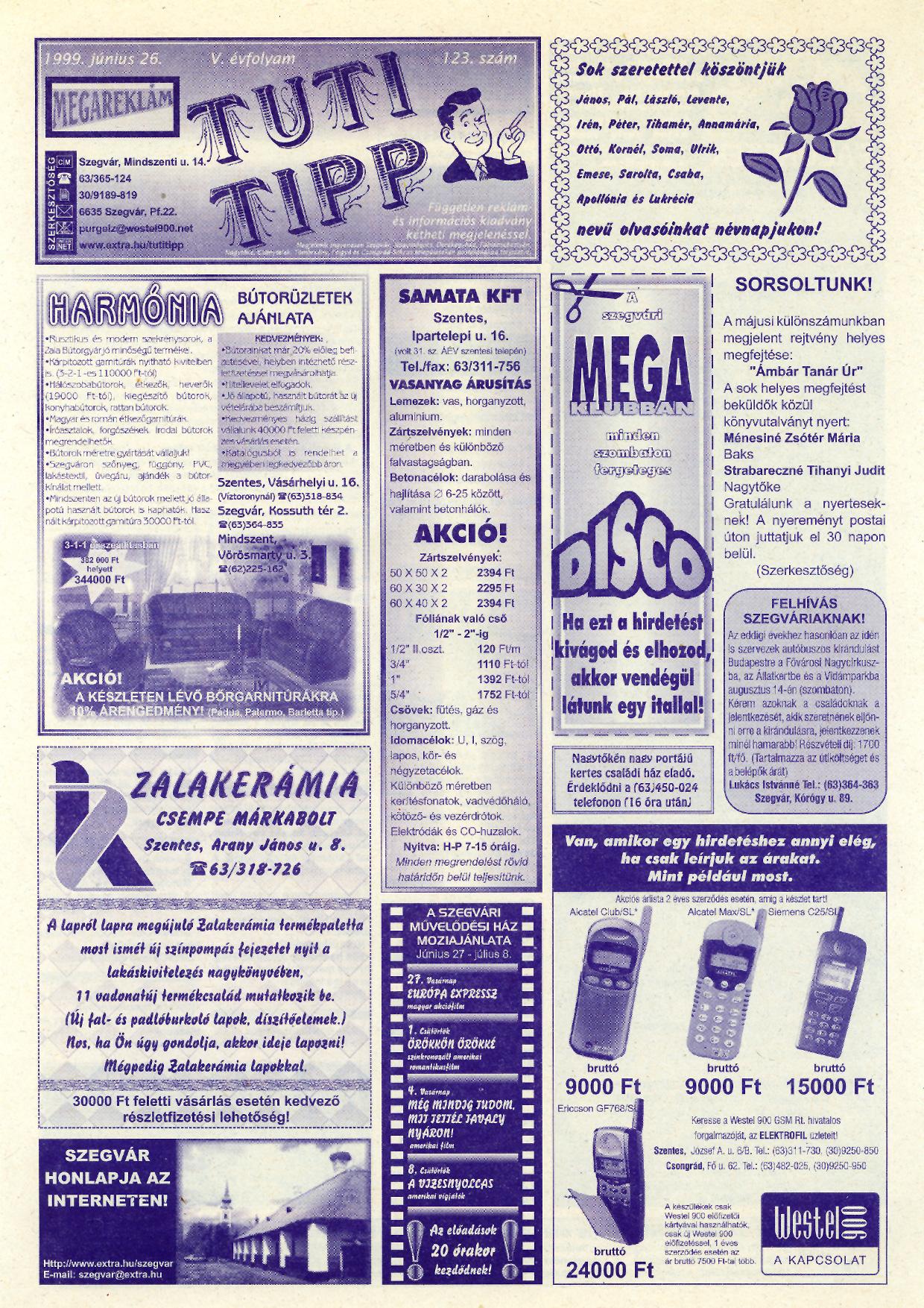 023 Tuti Tipp reklámújság - 19990626-123. lapszám - 1.oldal - V. évfolyam.jpg