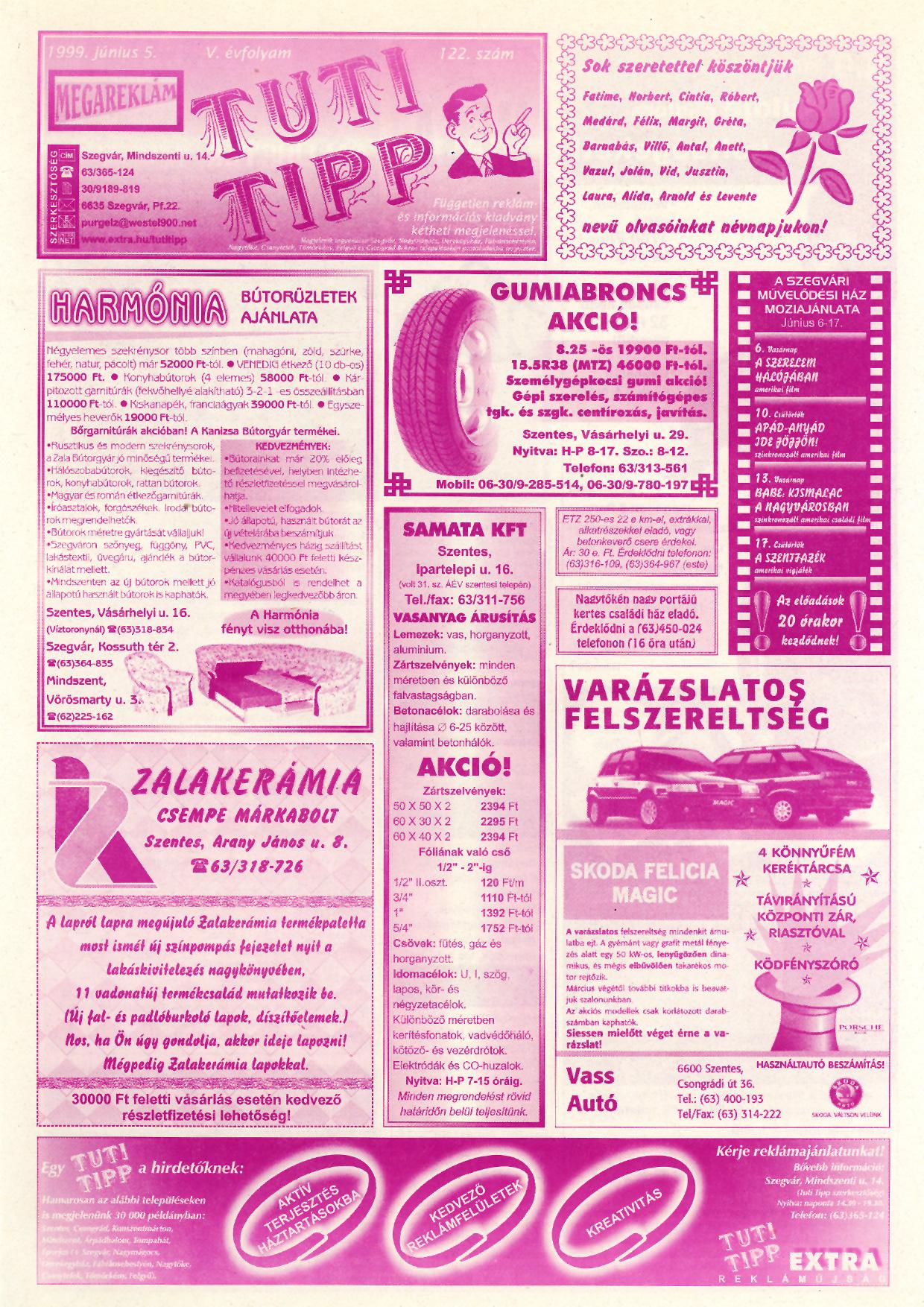 021 Tuti Tipp reklámújság - 19990605-122. lapszám - 1.oldal - V. évfolyam.jpg