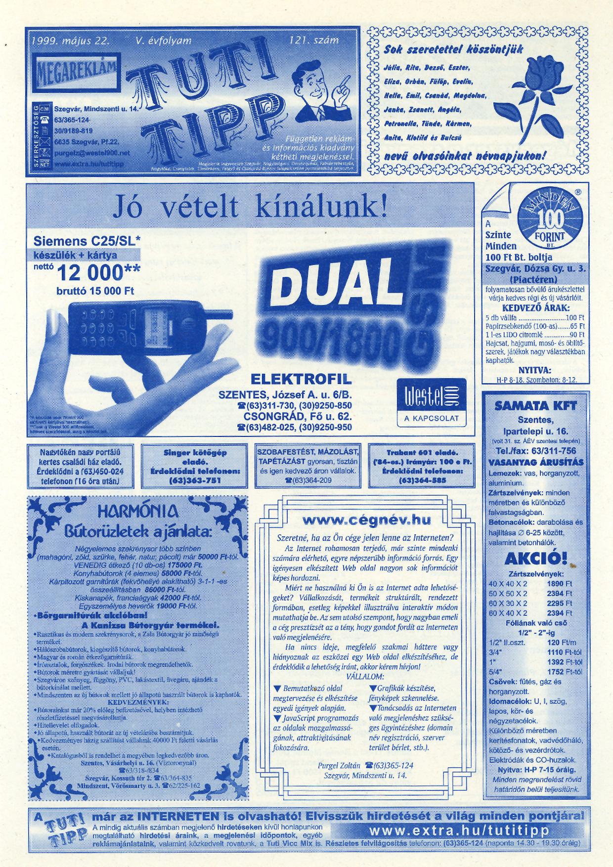 019 Tuti Tipp reklámújság - 19990522-121. lapszám - 1.oldal - V. évfolyam.jpg
