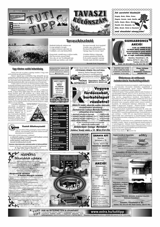 015 Tuti Tipp reklámújság különszám - 19990508-120. lapszám - 1.oldal - V. évfolyam.jpg
