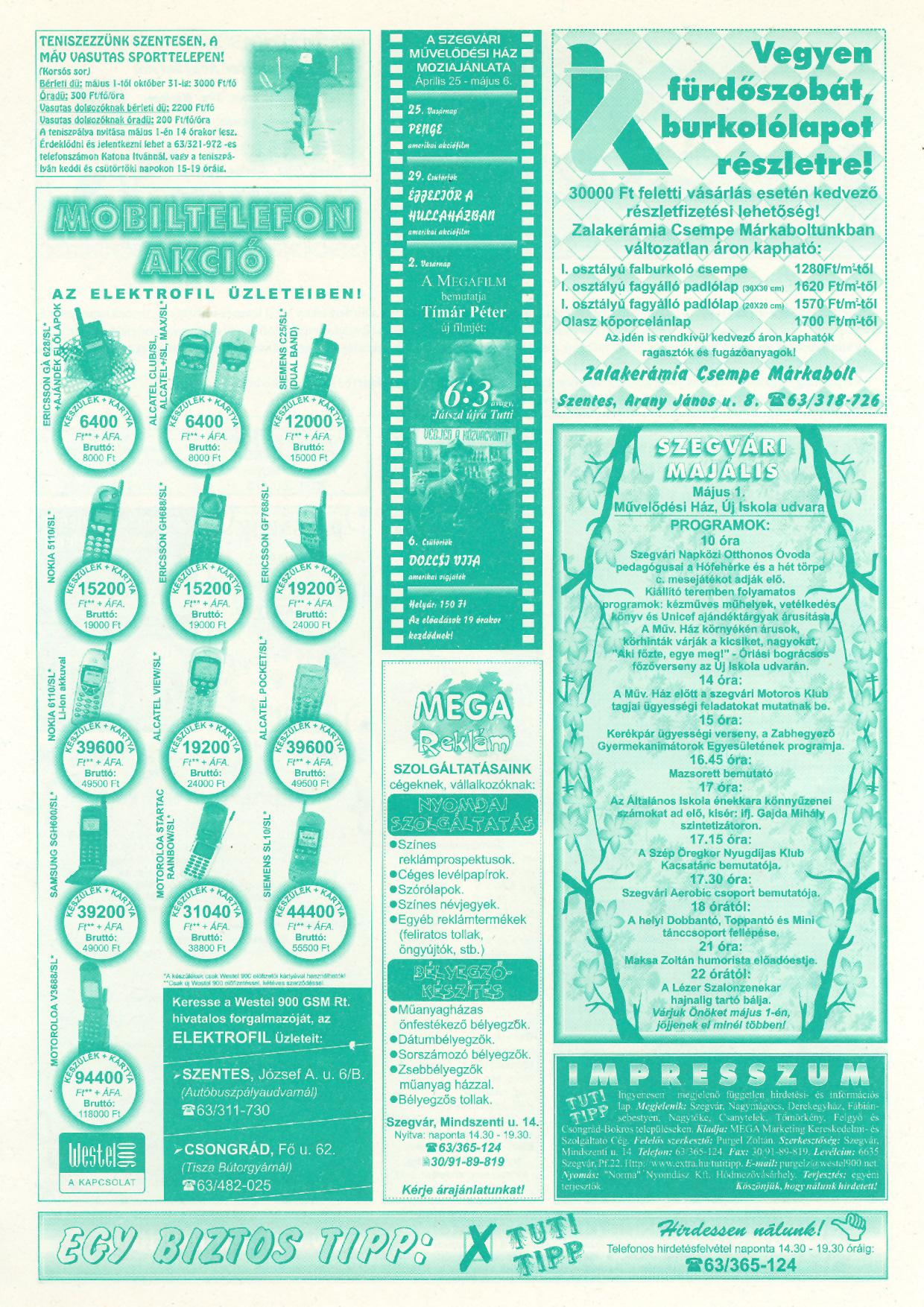 014 Tuti Tipp reklámújság - 19990424-119. lapszám - 2.oldal - V. évfolyam.jpg