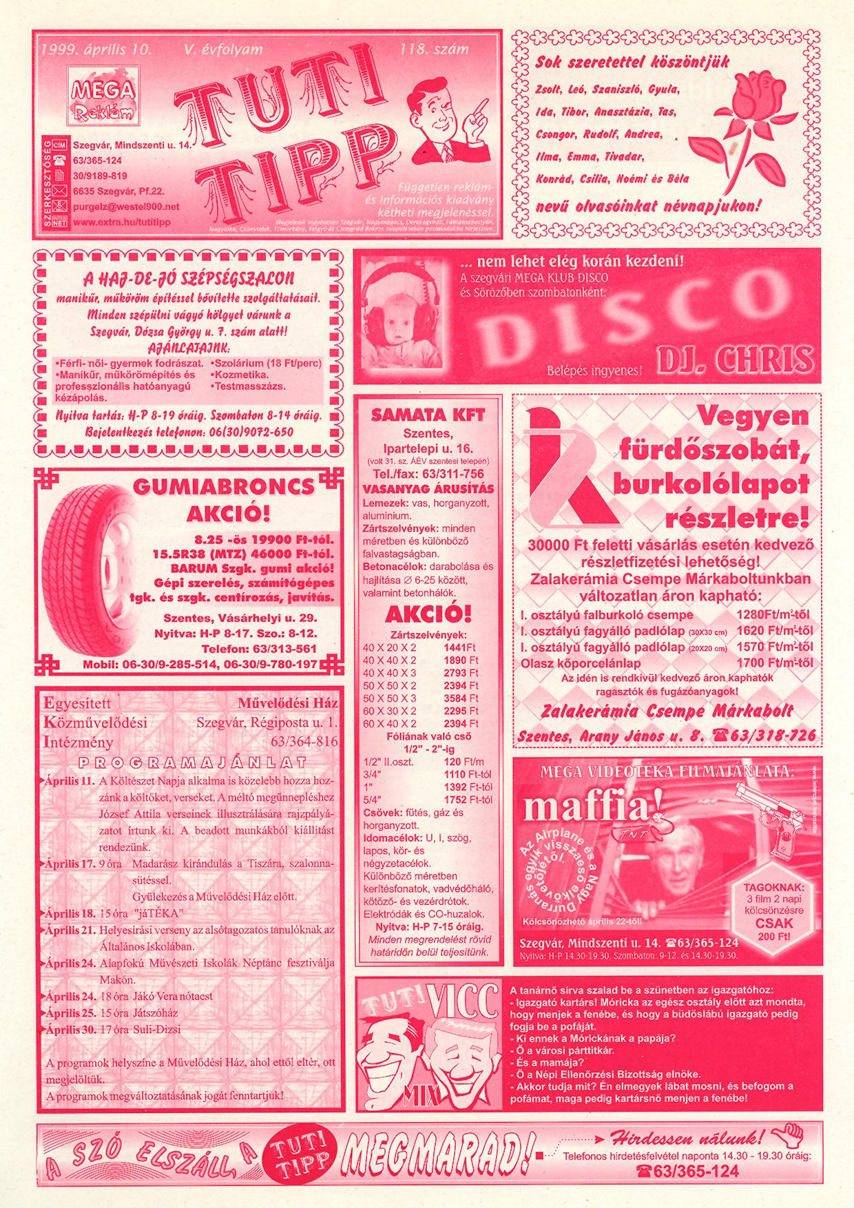 011 Tuti Tipp reklámújság - 19990410-118. lapszám - 1.oldal - V. évfolyam.jpg