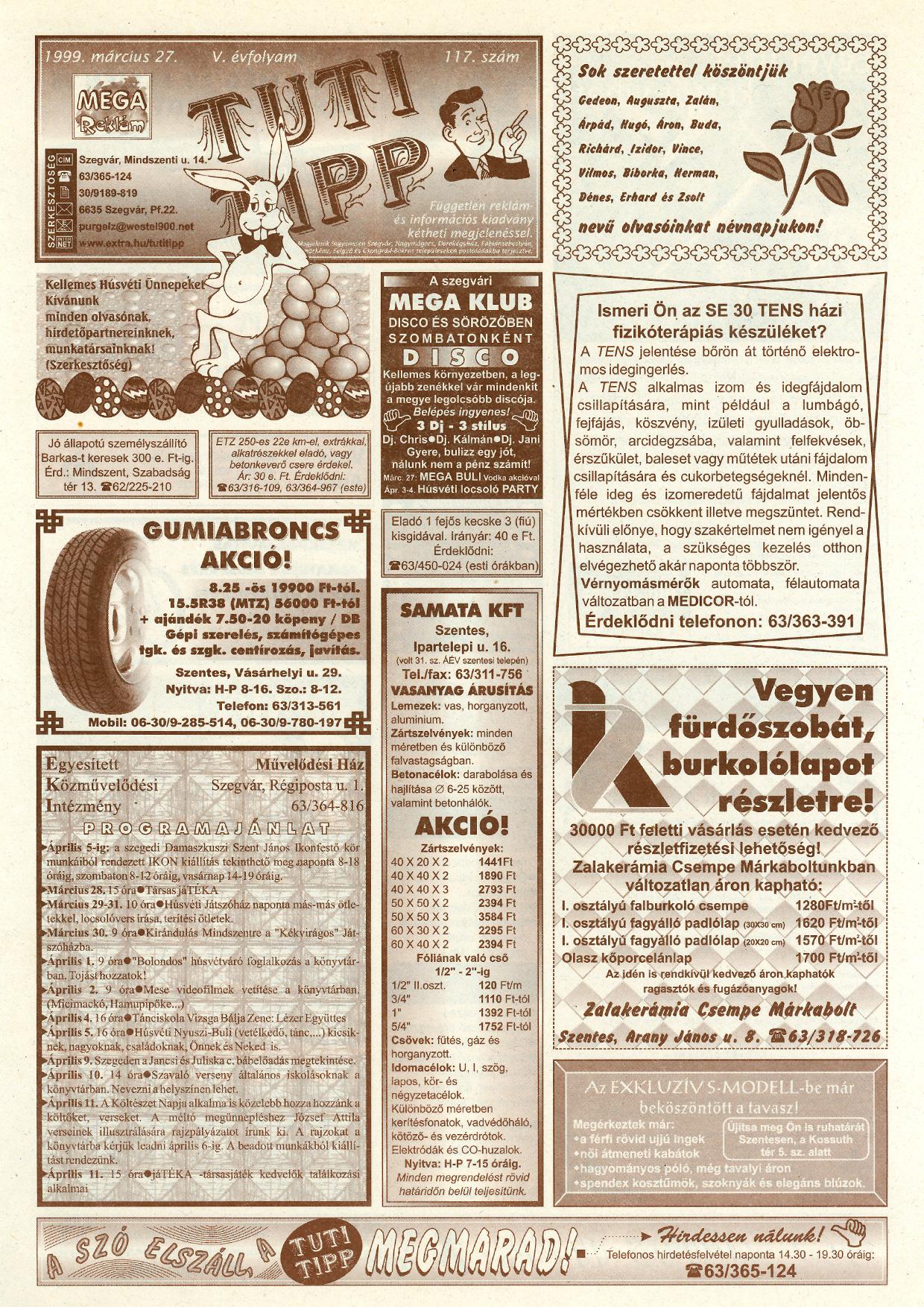 009 Tuti Tipp reklámújság - 19990327-117. lapszám - 1.oldal - V. évfolyam.jpg