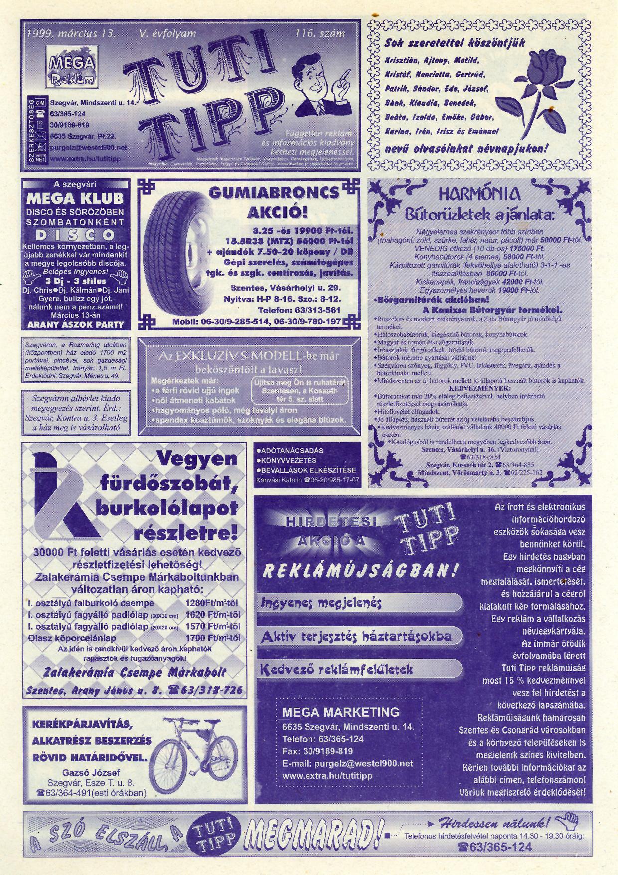 007 Tuti Tipp reklámújság - 19990313-116. lapszám - 1.oldal - V. évfolyam.jpg