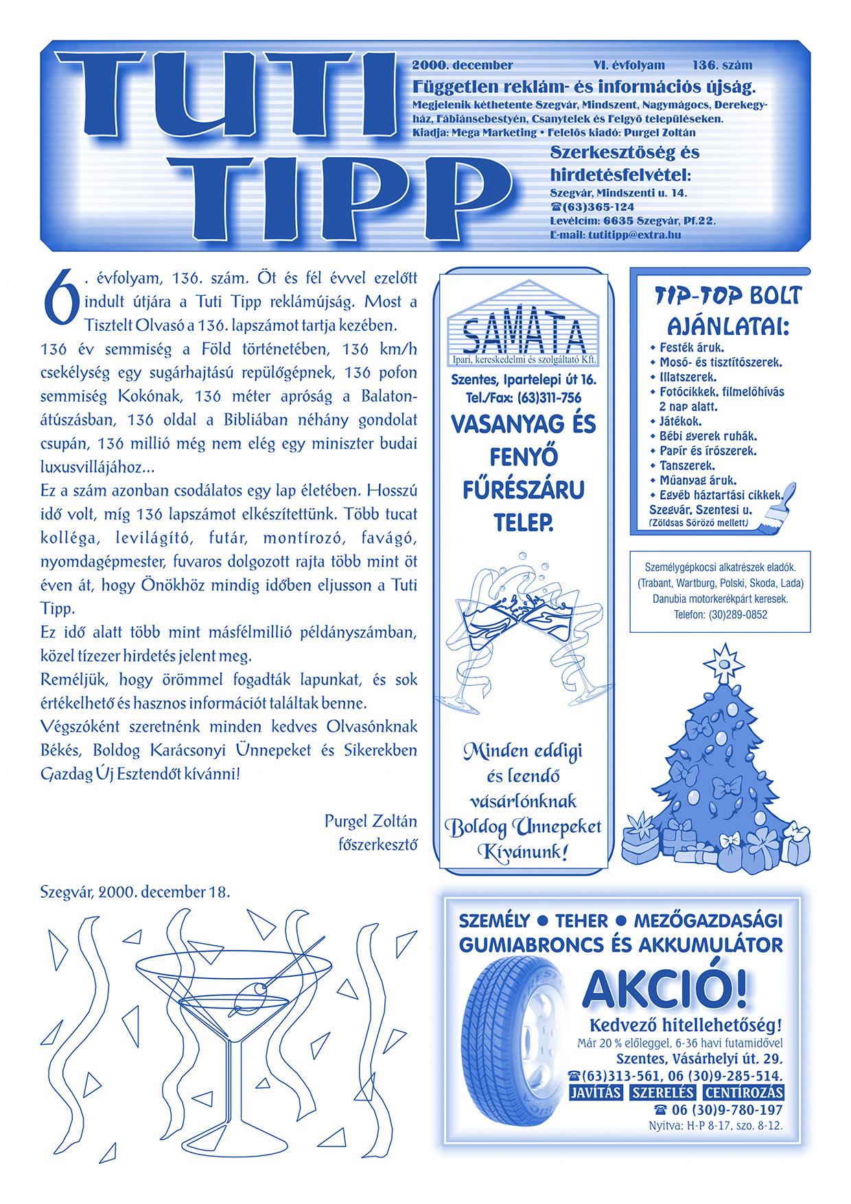 025 Tuti Tipp reklámújság - 200012-136. lapszám - 1.oldal - VI. évfolyam.jpg