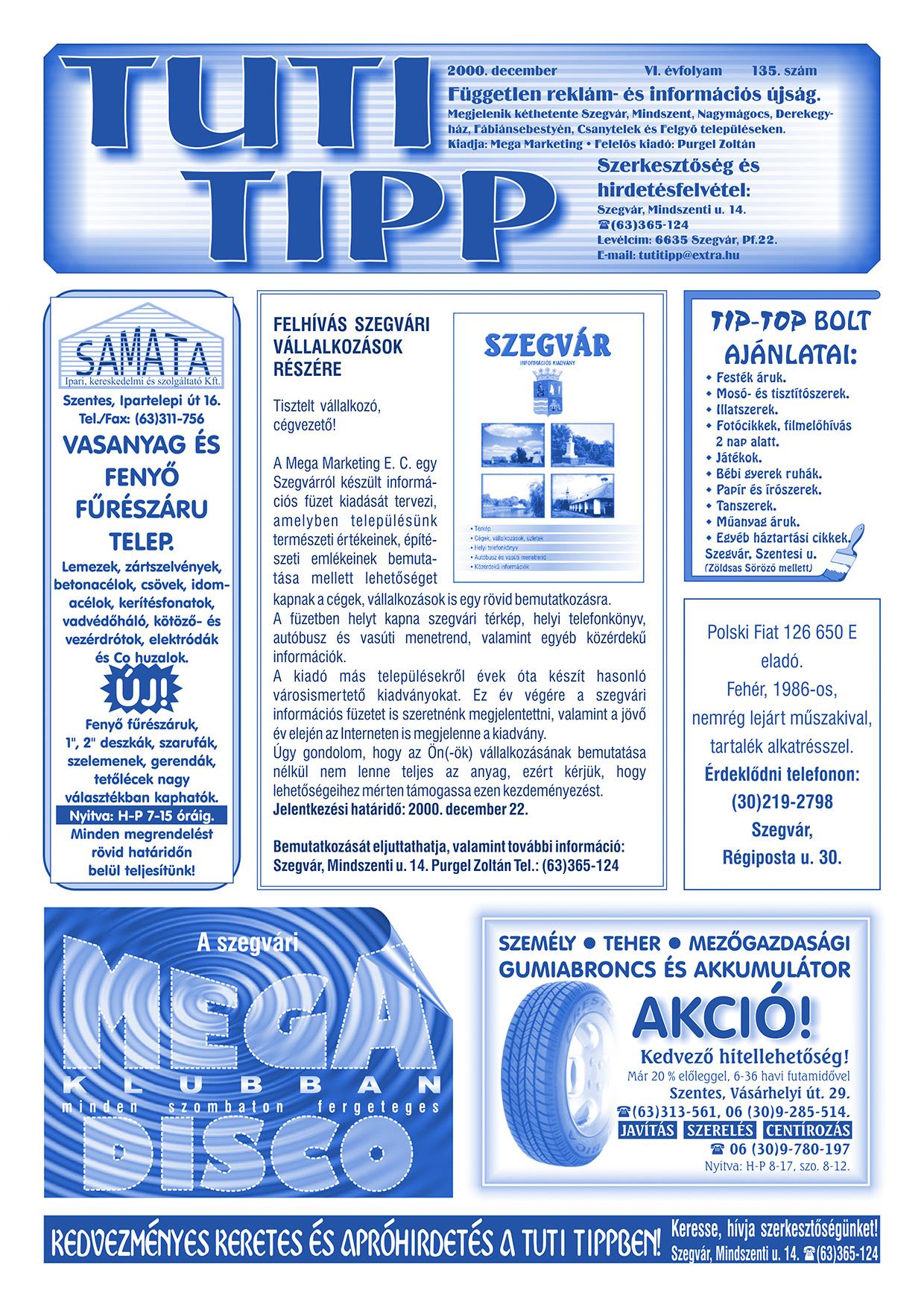 023 Tuti Tipp reklámújság - 200012-135. lapszám - 1.oldal - VI. évfolyam.jpg