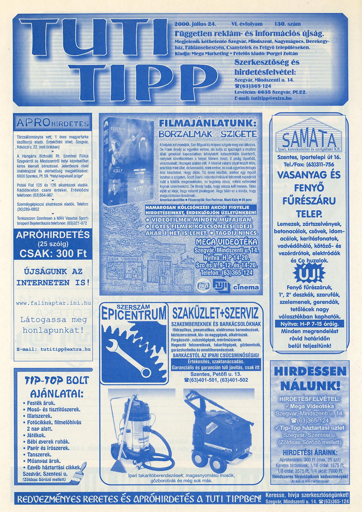 013 Tuti Tipp reklámújság - 20000708-130. lapszám - 1.oldal - VI. évfolyam.jpg