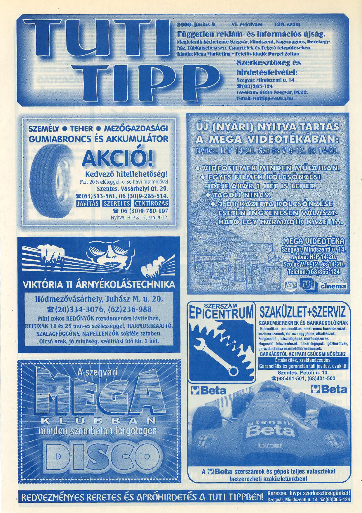009 Tuti Tipp reklámújság - 20000609-128. lapszám - 1.oldal - VI. évfolyam.jpg