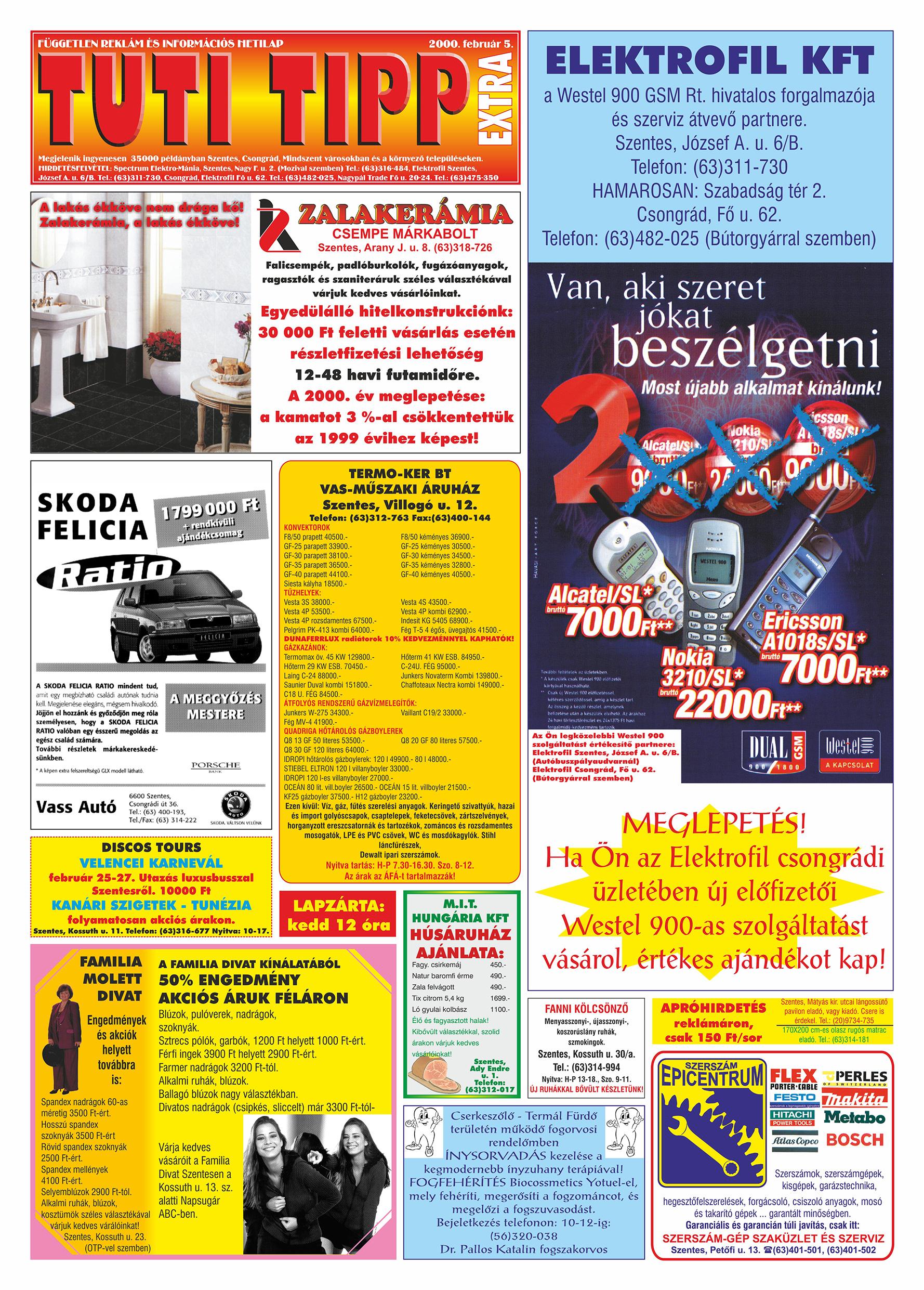001 Tuti Tipp Extra reklámújság - 20000205-027. lapszám - 1.oldal - VI. évfolyam.jpg