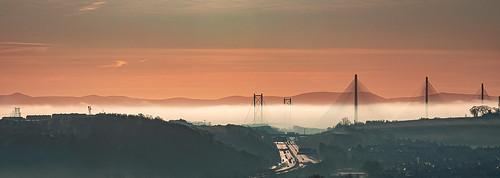sunset mist fog bridge riverforth queensferrycrossing forthroadbridge fife scotland rosyth