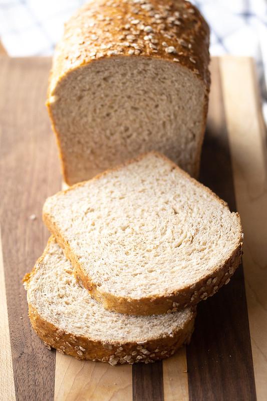 Sliced Loaf of Honey Oat Bread
