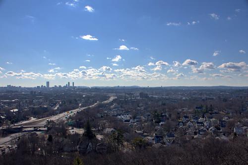 highway i93 boston wrightshill city skyline urban town massachusetts newengland winter landscape cityscape tree