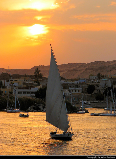 Sunset on the Nile, Aswan, Egypt
