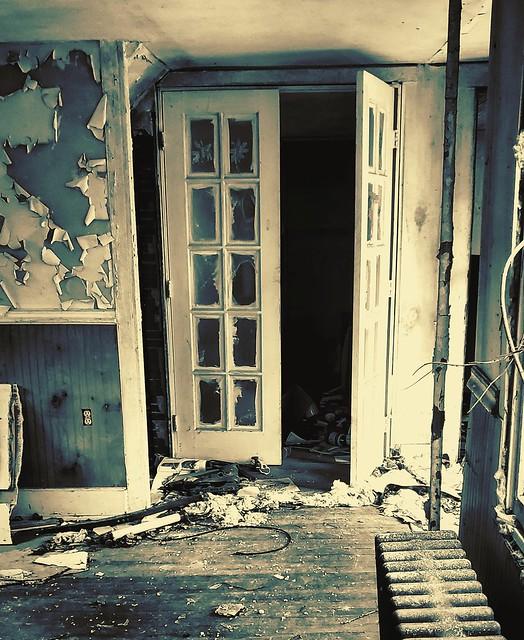 Abandoned House Blue Door
