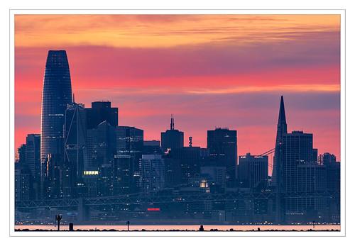 alameda california unitedstates sunset sanfrancisco baybridge embarcadero salesforcetower transamericapyramid hillsbroscoffee