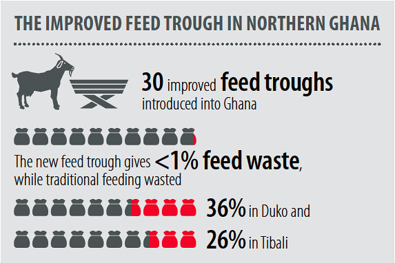 The improved feed troughs in northern Ghana. Africa RISING Annual Progress Report, October 2018 to September 2019.