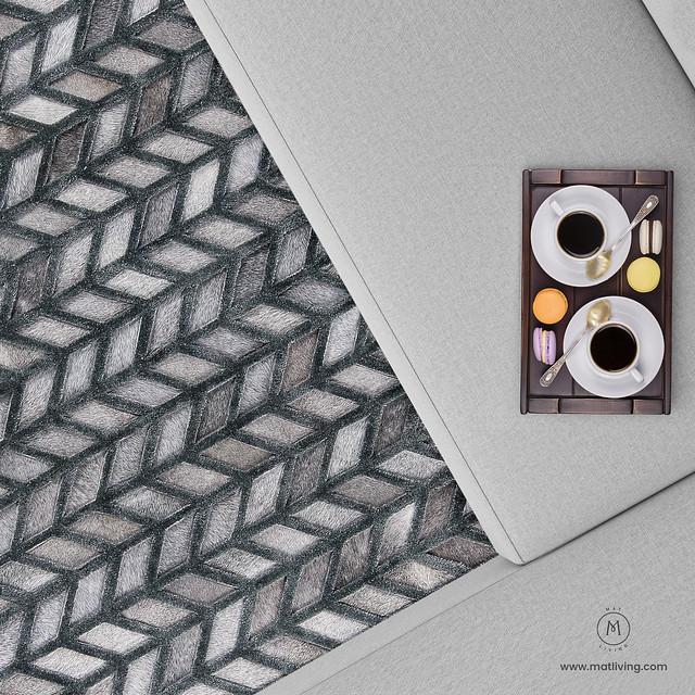 Luxury Geometric Contemporary Handmade Leather Tufted Rio Gamma Grey