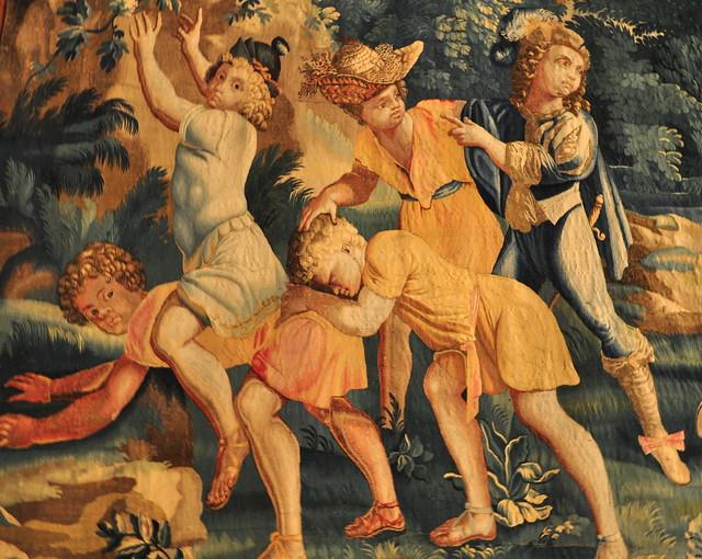 Détail,  tapisserie des Gobelins, château royal de Pau, Béarn, Pyrénées-Atlantiques, Nouvelle-Aquitaine, France.