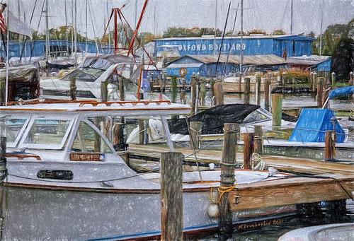 oxfordboatyard marina digitalcoloredpencildrawing oxfordmaryland safeharboroxford dockedboats townofoxford oxfordmd maryland md sunset marylandeasternshore waterfronttown talbotcountymd