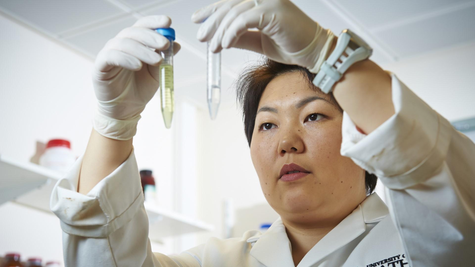Dr Asel Sartbaeva in the laboratory
