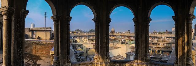 A pano, atop Old Delhi's slum rooftops.