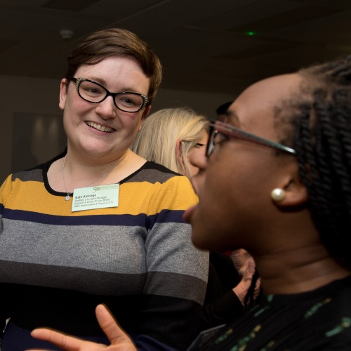 Kate Aldridge at a networking event