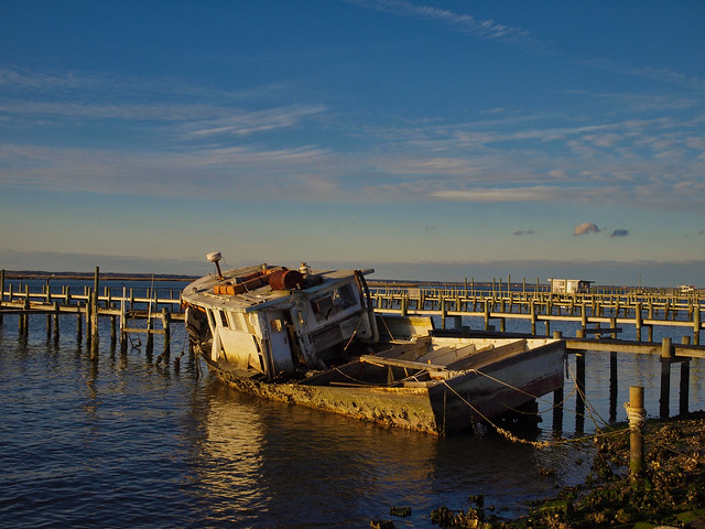 Wrecked Boat at Golden Hour