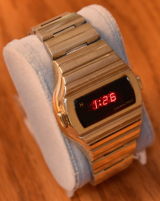 A Well Worn Vintage Hamilton Men's Digital Quartz Watch With Two Time Command Buttons, Red LED Display, Original Bracelet, Circa 1975 - 1976