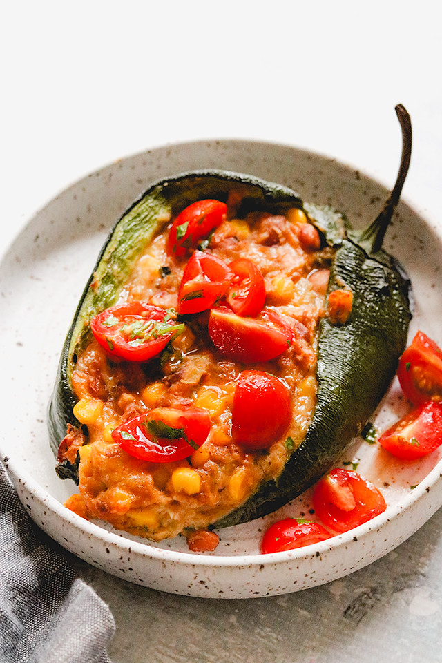 Cheesy Pinto Bean Stuffed Poblano Peppers