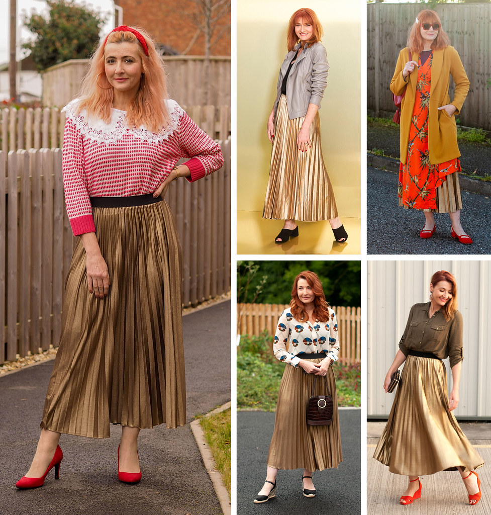 5 Ways to Wear a Gold Metallic Pleated Maxi Skirt | Not Dressed As Lamb, Style Over 40