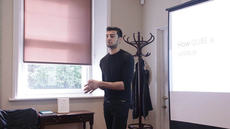 Photo of a student pitching at Dragons' Den