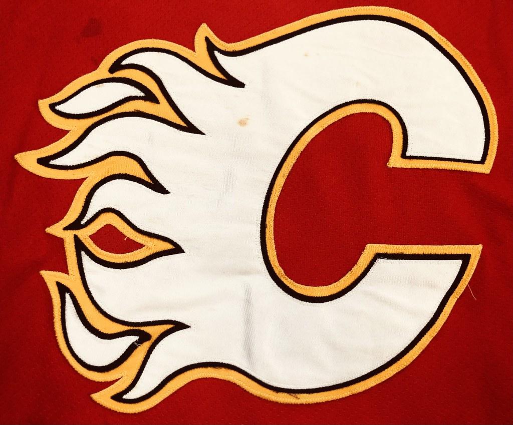 1996-97 Zarley Zalapski Calgary Flames Away Set 2 Game Used Jersey Crest