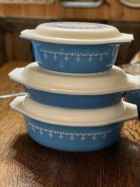My Pyrex Snowflake casserole stack