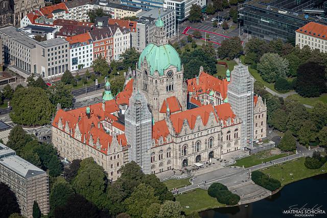 Rathaus Hannover aus der Luft