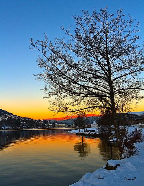 Soleil couchant sur le lac de Gérardmer - Vosges