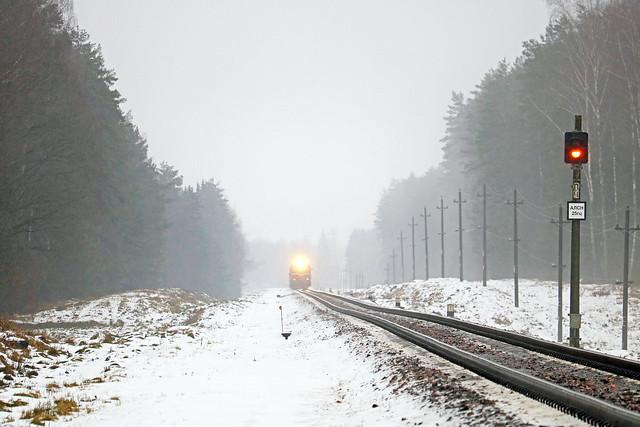 Тепловоз 2М62У-0260 в составе дизель-поезда ДРБ1м-02 на перегоне Голынец/Вендриж.