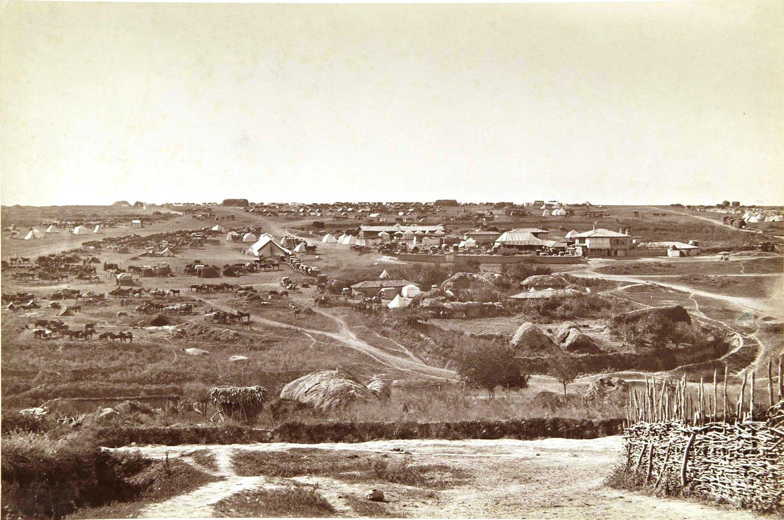 Вид главной квартиры Государя Императора при Горном Студне. 1877