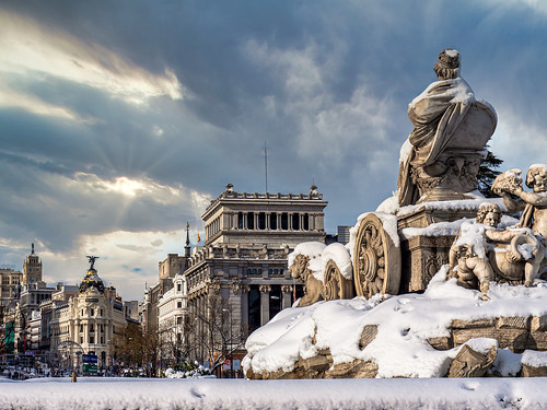 madrid cibeles premio salvapantallas wallpaper sunset sunrise spain españa nevada monumento europe europa metropolis real price