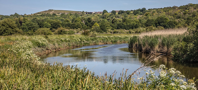 Near Houghton Bridge the River Arun turns south below Rackham Hill at the height of summer.