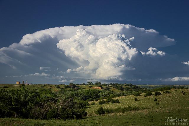 18 May 2019 — Fay, Oklahoma — Erupting thunderstorm