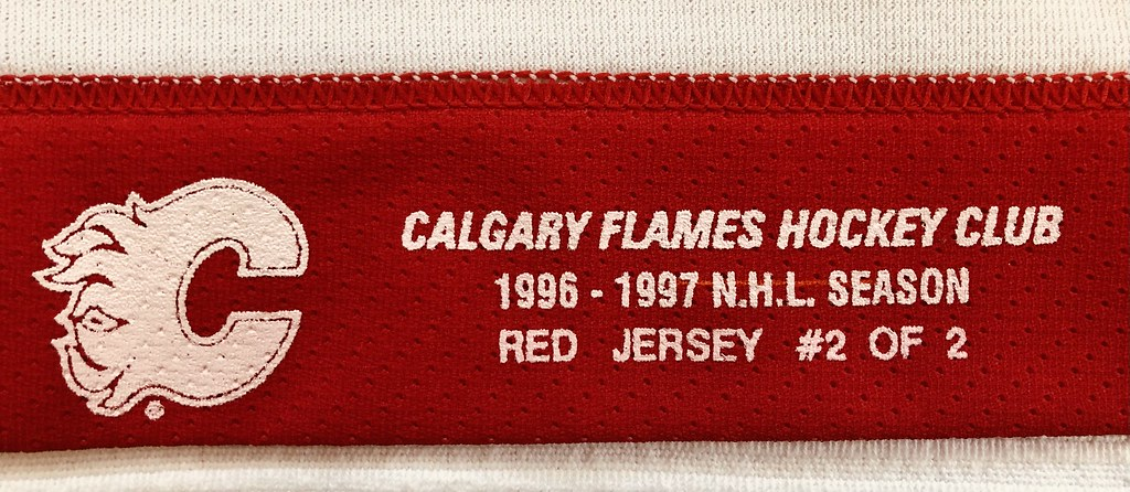 1996-97 Zarley Zalapski Calgary Flames Away Set 2 Game Used Jersey Set Tag